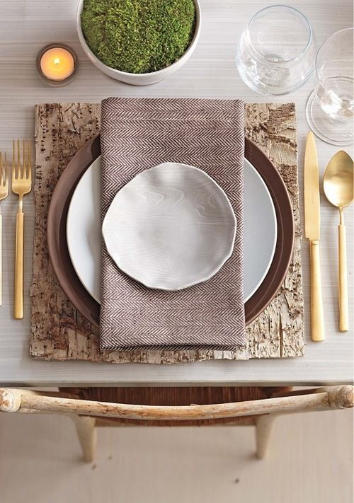 My ideal place setting. Rustic meets glam birch wood placemat herringbone napkin and organic-shaped plates with gold flatware. & Setting a Thanksgiving Table... | Table settings Tablescapes and ...