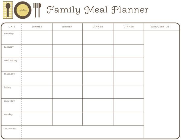 photograph about Printable Meal Calendar identified as Regular Evening meal Planner cost-free printable Dinner Creating
