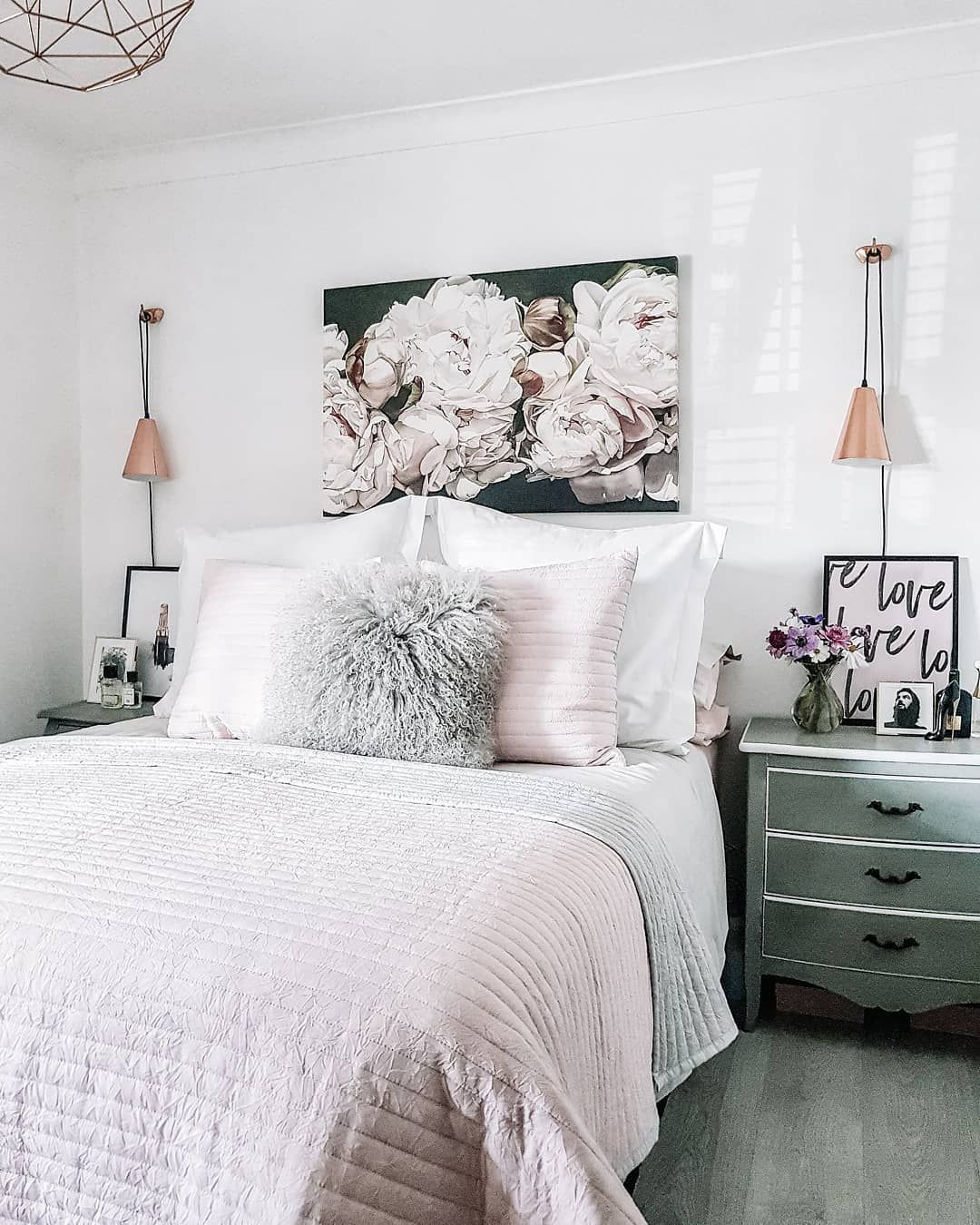 Light Bright Summer Bedroom White Walls Soft Pink And Grey Bedding And Copper Acc White Bedroom Furniture Grey Walls Grey And White Room Pink Master Bedroom