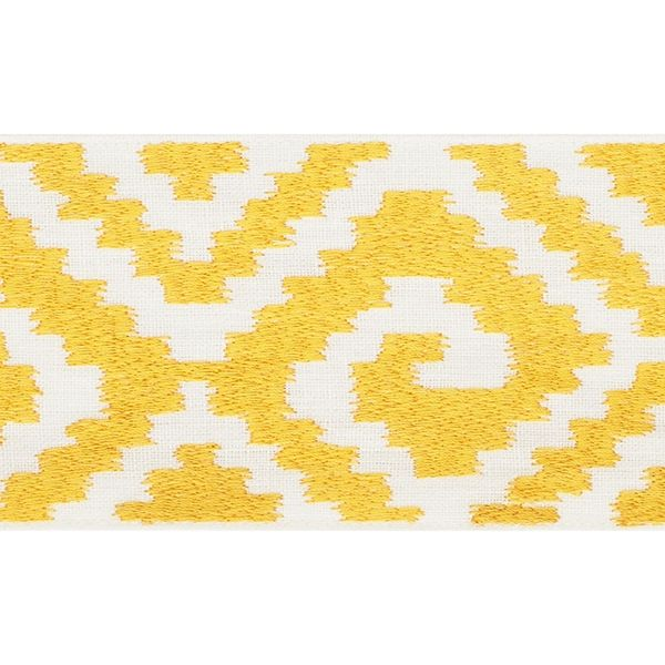Fillmore Tape   70601 in Yellow   Schumacher Trim    A wide linen tape with an ikat-like pattern that imparts a dash of boho chic.