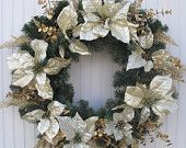 Burlap Wreath with Muslin & Pearls. $40.00, via Etsy but you creative types can do it much cheaper