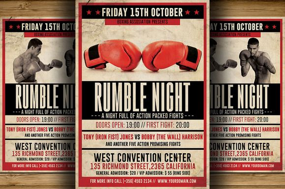 Vintage Boxing Flyer Template by Hotpin on Creative Market - retro brochure template