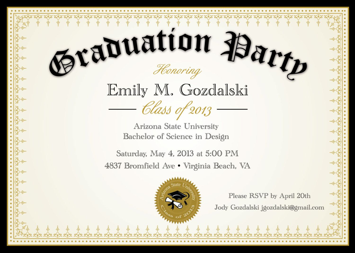 Diploma Graduation Party Invitations - Grad Announcement Digital ...