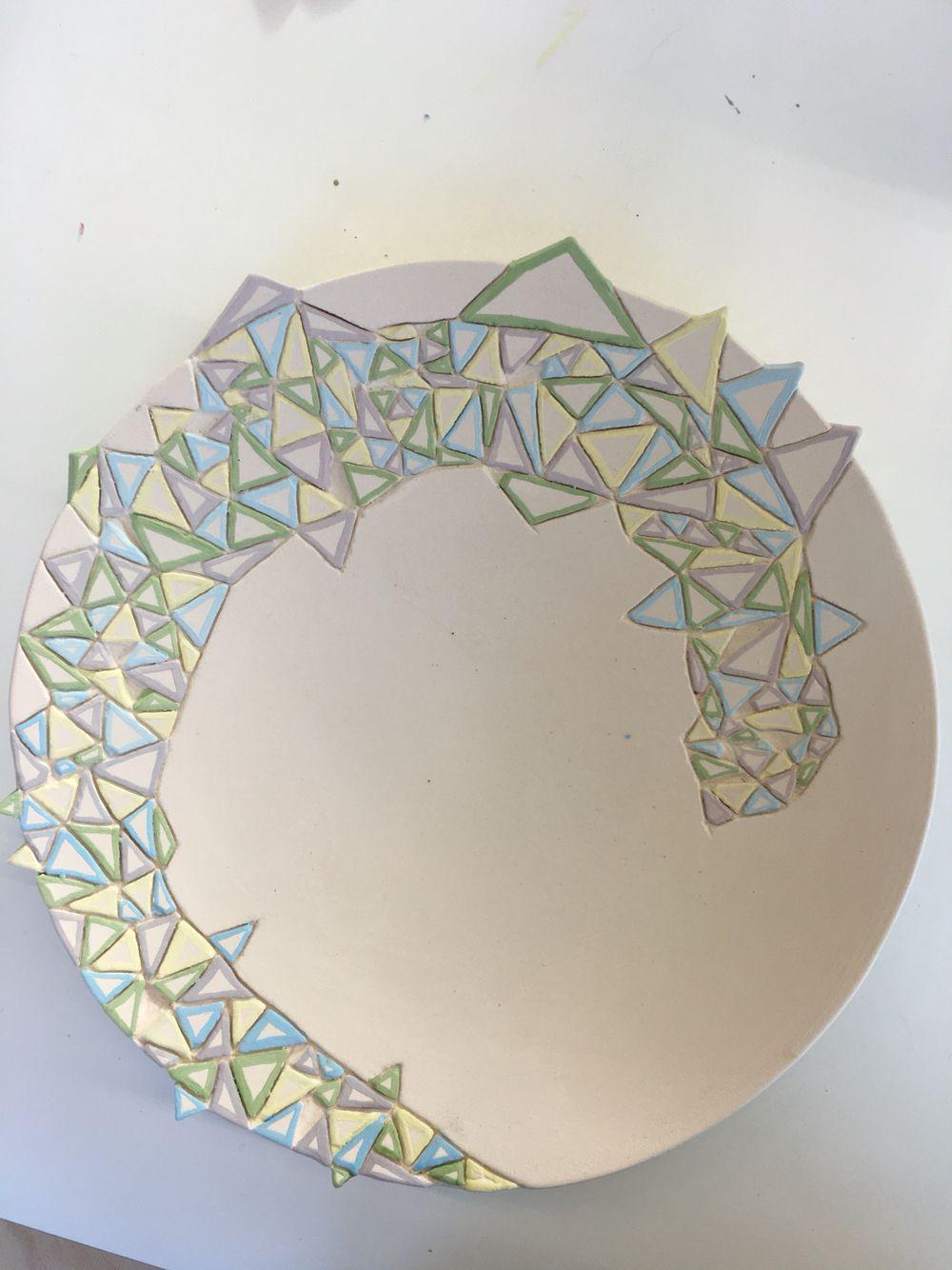 Een schaal van keramiek gemaakt met mijn eigen ontwerp#SintLucas