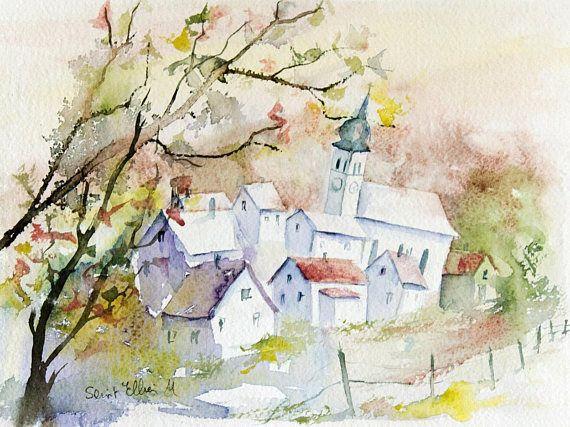 Aquarelle Originale De Petite Ville En France Peinture Originale