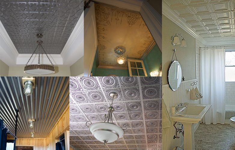 Different types of Metallic ceiling tiles for a bathroom Bathroom