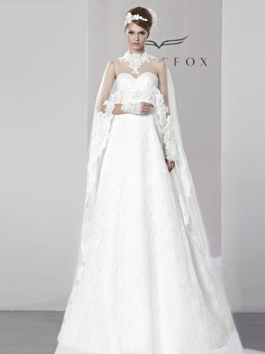 A Line Goddess Lace Crinkle Caplet Wedding Dresses,A Line Wedding ...