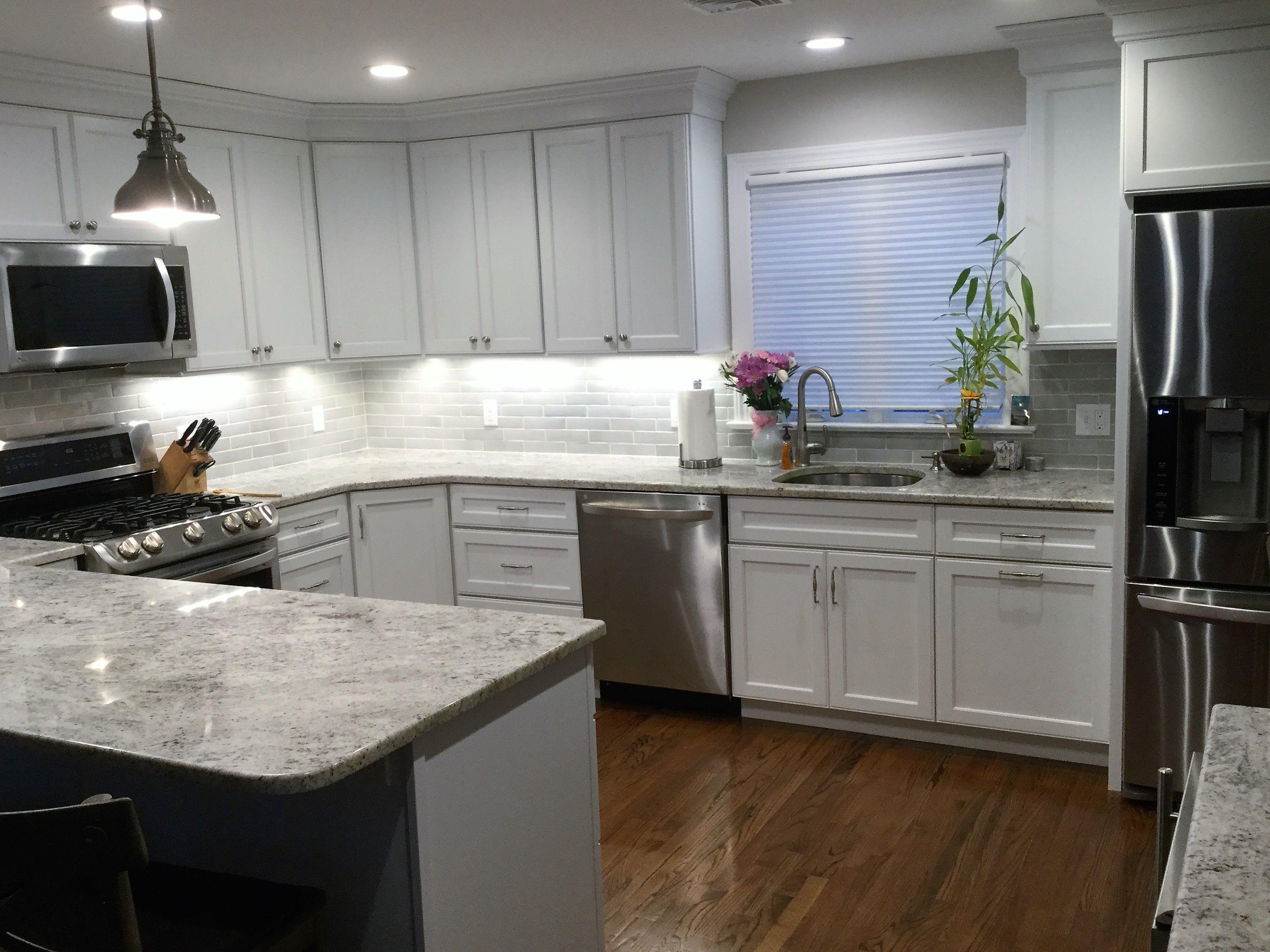 Grey Subway Tile Backsplash In White Kitchen Balboa Mist Benjamin Moore Wall Color