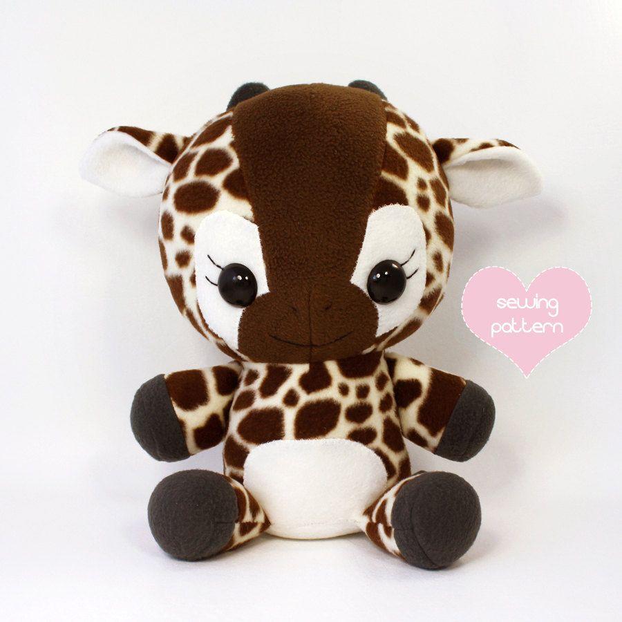 PDF sewing pattern - Giraffe plush - cute easy cute kawaii DIY ...