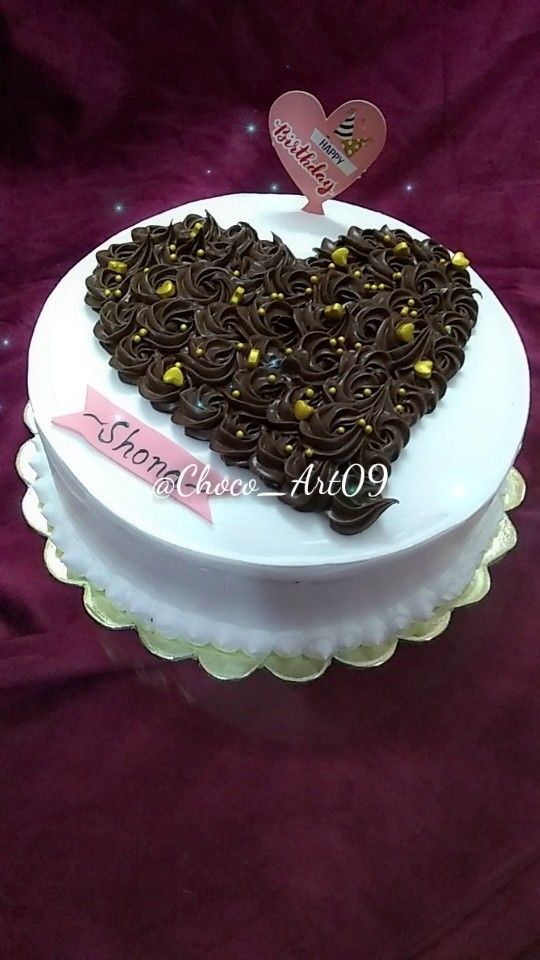 BlackForest Cake made with Chocolate Rossets, created heart.