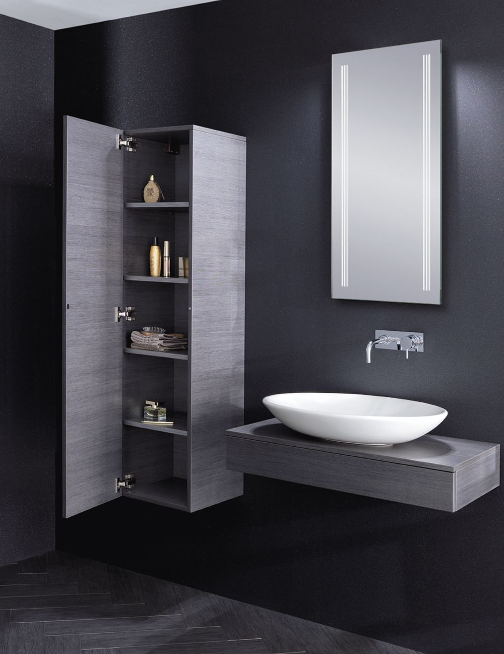 Bauhaus countertop wall hung vanity basin Edge in Steel with