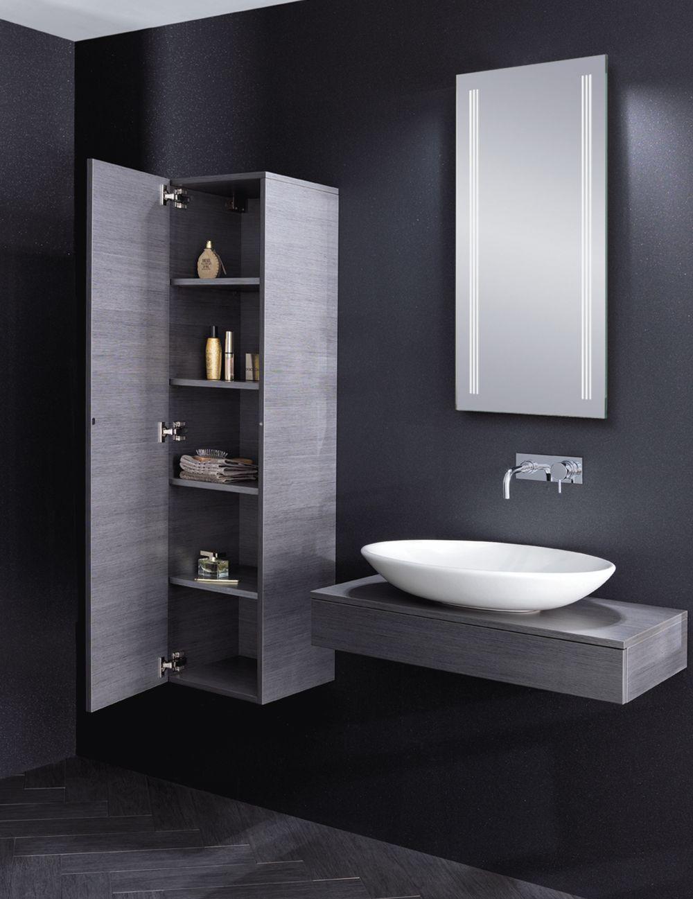 Bauhaus Countertop Wall Hung Vanity Basin Edge In Steel With Matching Bathroom Storage Cabinet Modernes Badezimmerdesign Bauhaus Mobel Modernes Badezimmer