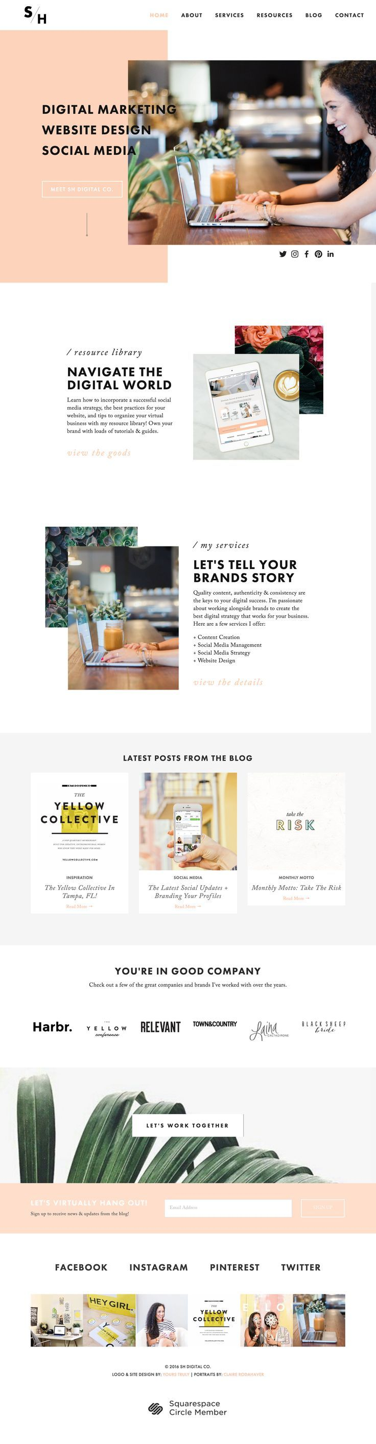 SH Digital Co. | Created in Squarespace and customized using the Pacific theme. Learning how to create the perfect website and manipulate a template to my liking was challenging but awesome. I love the way it came out. Let's make yours!