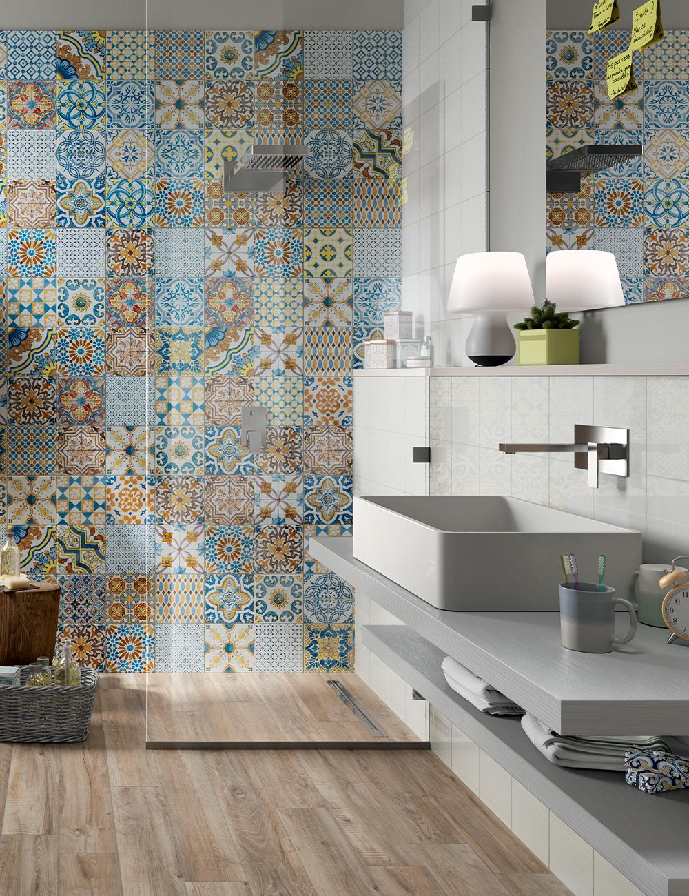 Photo of Rivestimento Bagno Lucido in Bicottura Effetto Patchwork Azulejos 20X20