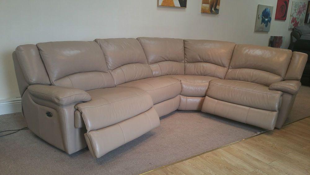 cream designer leather elec reclining 4 piece corner (11) £1199