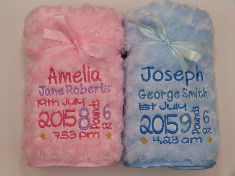 Personalised Baby Girl Blanket Luxury Embroidered Soft Fluffy Pink Custom Gift
