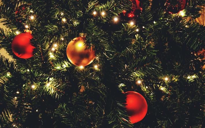 Scarica Immagini Di Natale.Scarica Sfondi Albero Di Natale 4k Sera Lanterne Nuovo