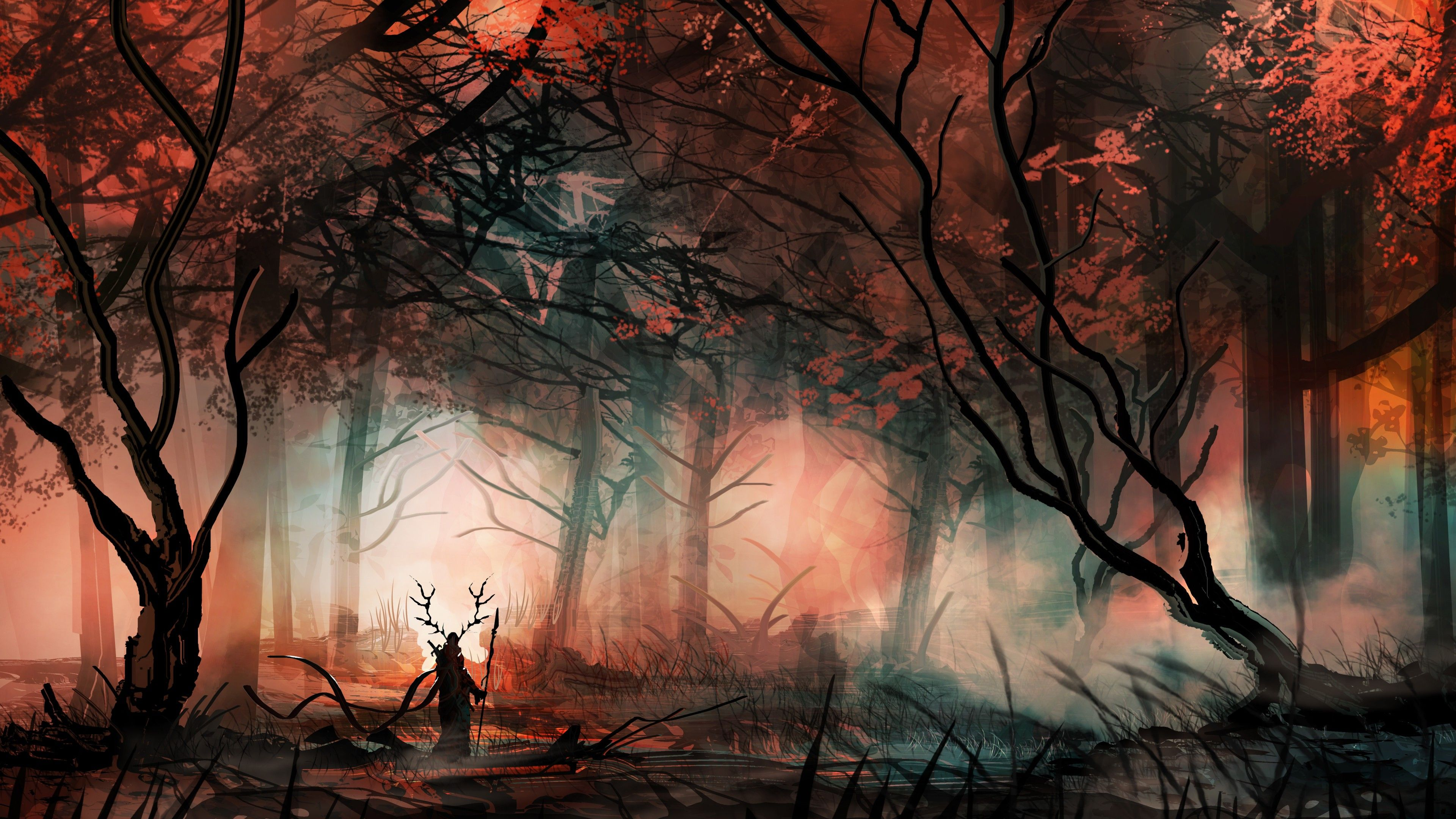 General 3840x2160 Fantasy Art Trees Forest Hero Loneliness Digital Art Mist Fantasy Forest Forest Wallpaper Fantasy Paintings