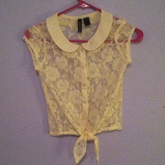 White lace cropped Peter Pan collar shirt Great condition, only worn a few times. It's a little girls medium but fits me, I wear a women's x-small/small. No wear in the lace Tops