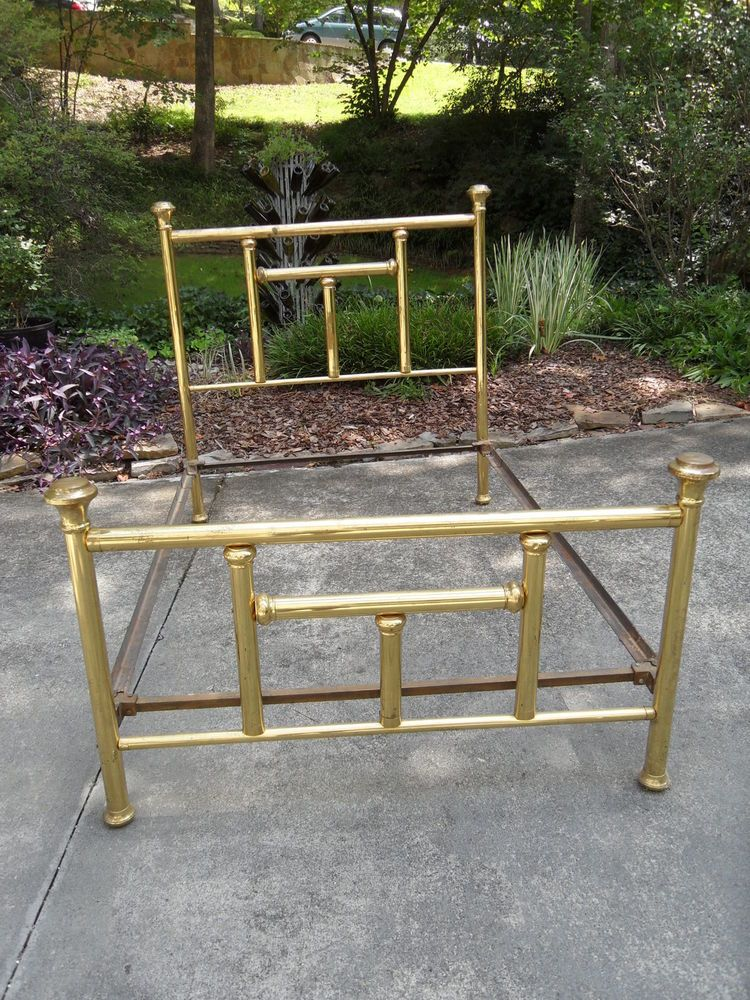 Vintage Antique Brass Bed Full Size Iron Frame Rails Brass