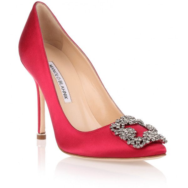 Manolo Blahnik Hangisi 105 Cerise Satin Pump ($825) ❤ liked on ...