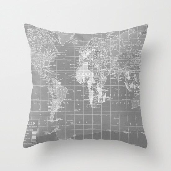 World map pillow grey and white map of the world throw pillow world map pillow grey and white map of the world throw pillow travel decor gumiabroncs Choice Image