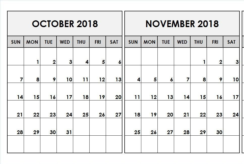 October November 2018 Calendar 2 Months Printable Template