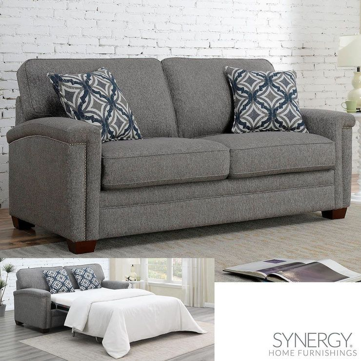 Hyde Grey Fabric Sofa Bed With 2 Accent Pillows Costco Uk Grey Fabric Sofa Sofa Bed Mattress Fabric Sofa Bed