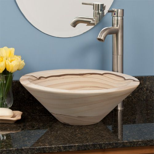 Sandstone Round Angled Vessel Sink Decor Inside/outside the home - Vessel Sinks Bathroom
