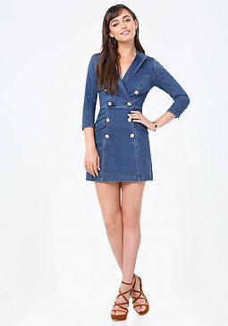 bebe Denim Coat Dress