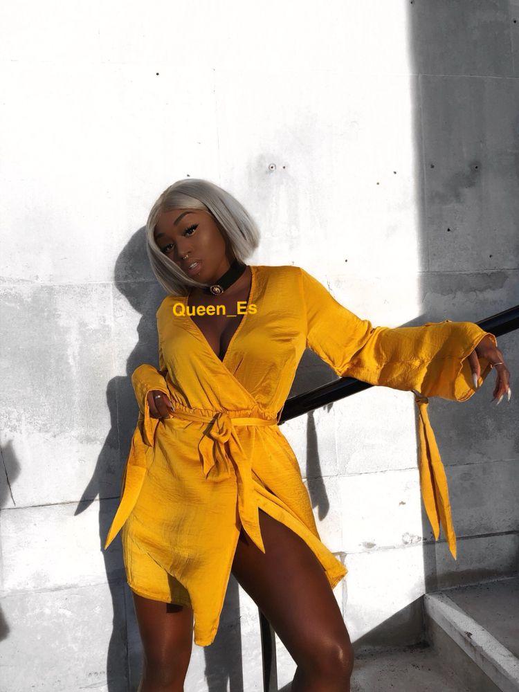 05930a4c4894 Black women in yellow off the shoulder dress yellow colored hair blonde  platinum hair silver grey hair baddie dark skin chocolate nails acrylics