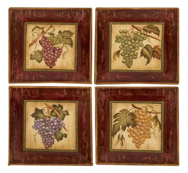 Wine Decor Wall Art tuscan vineyard grapes ceramic wall plaques art decor set of 4