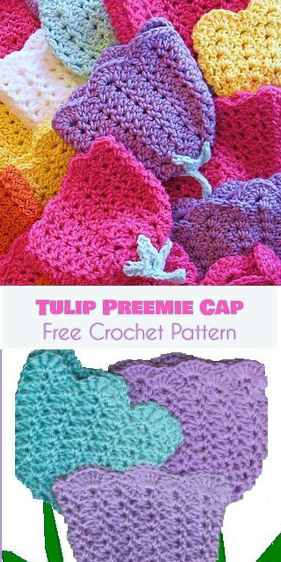 Tulip Preemie Cap [Free Crochet Pattern] Follow us for more FREE ...