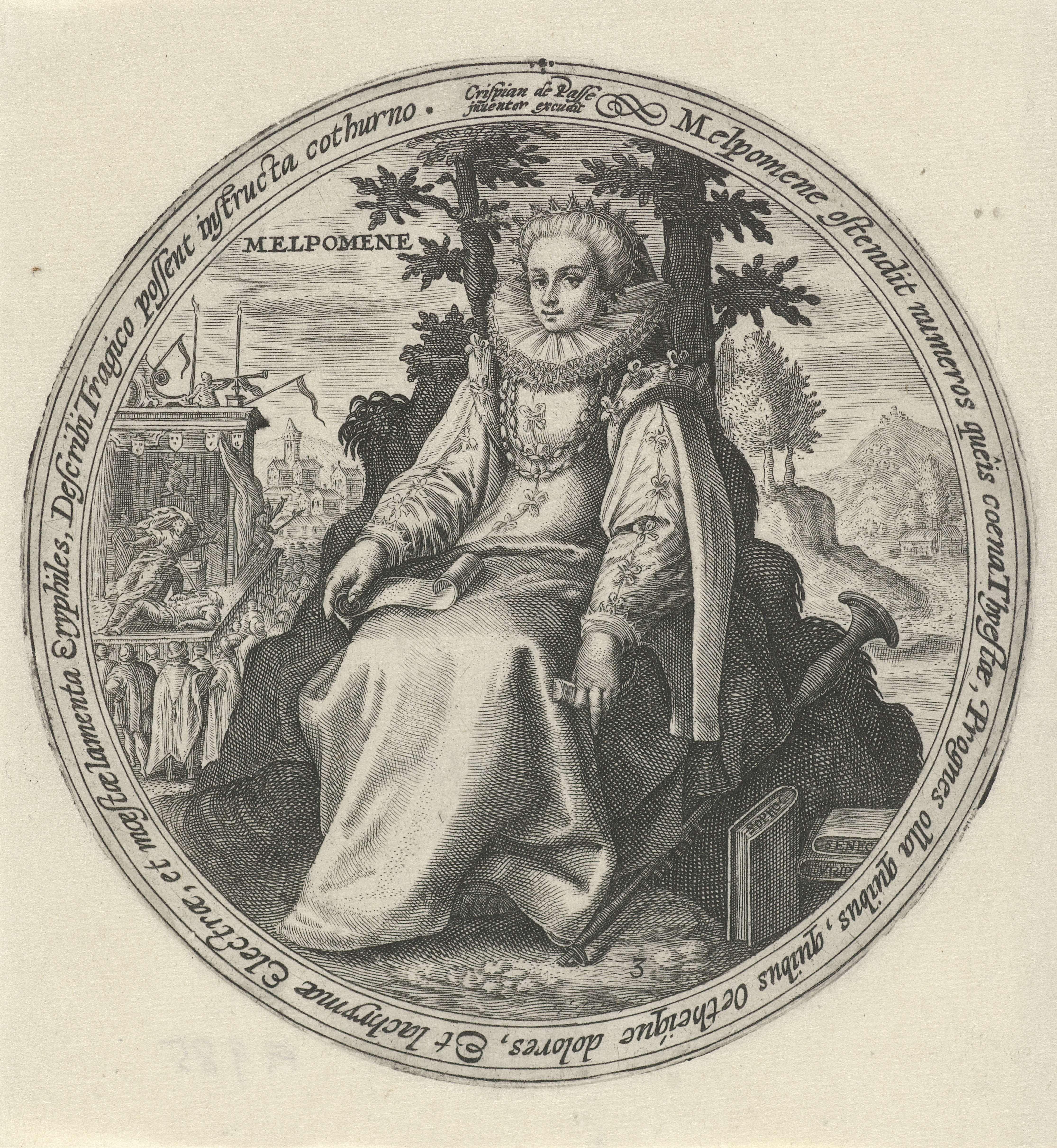 Crispijn van de Passe (I) | Melpomene, Crispijn van de Passe (I), 1589 - 1611 | Landschap met Melpomene, de muze van het treurspel, met een lege dolkschede en een papier in haar handen. Op de achtergrond wordt op een podium een toneelspel opgevoerd. Derde prent uit een serie met muzen.