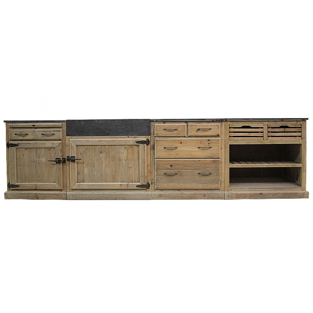 Tiroir porte et niche de rangement meuble cuisine bois - Meuble cuisine pin ...