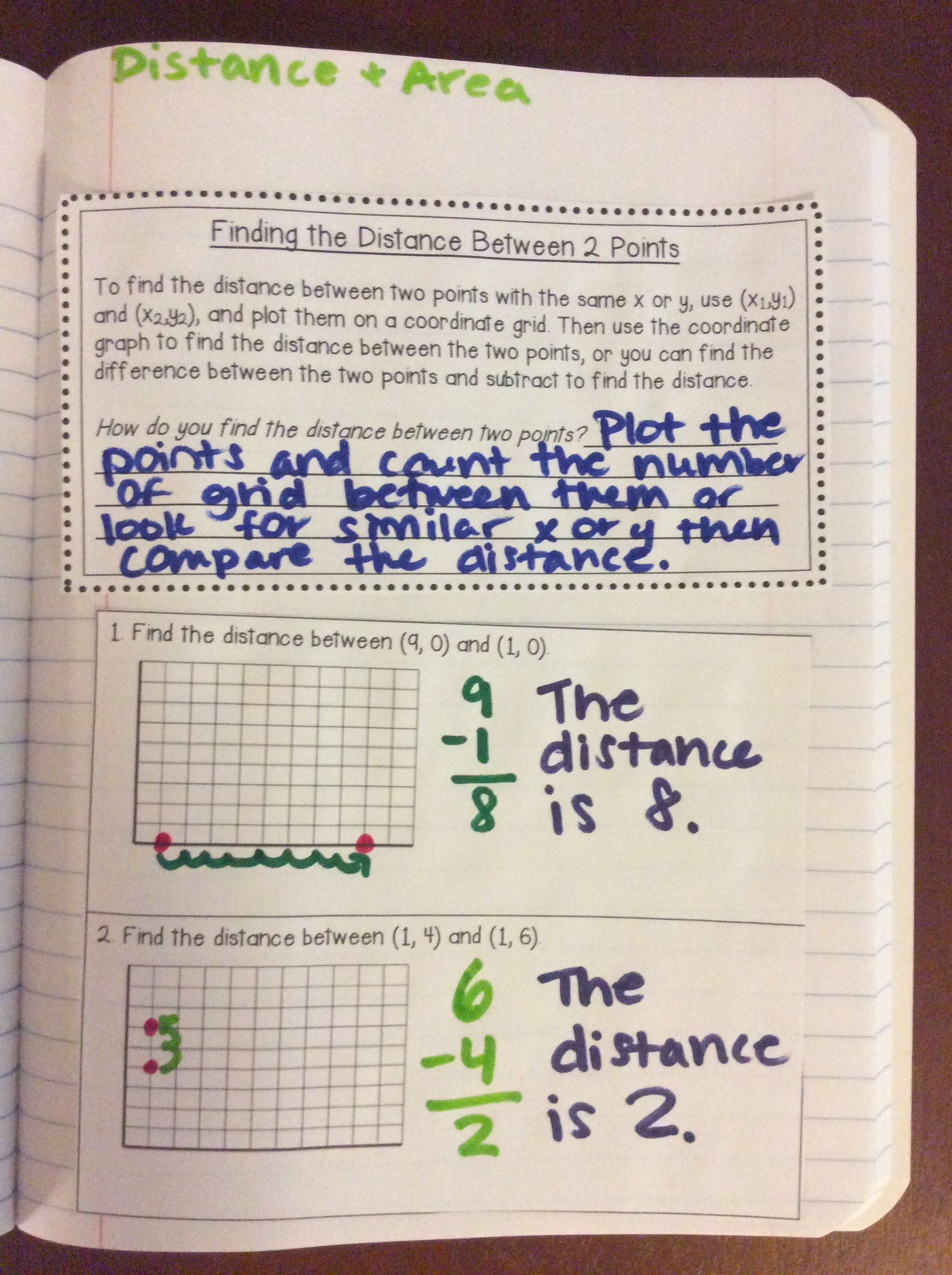 Interactive Math Notebook Distance And Area In The