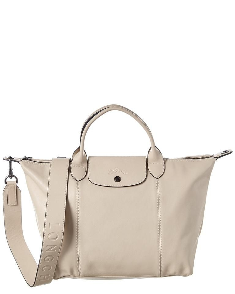 Longchamp | Pliage Cuir Medium Logo Strap & Short Handle Tote ...