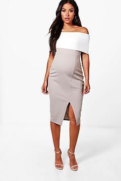 3bd201bbf ¡Consigue este tipo de vestido informal de Boohoo ahora! Haz clic para ver  los detalles. Envíos gratis a toda España. Vestido Midi Con Hombros  Descubiertos ...
