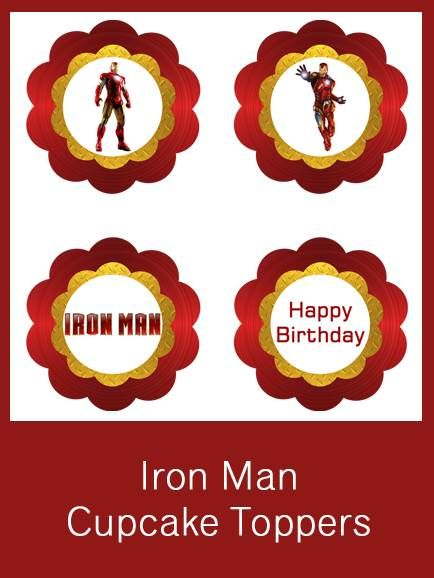 Iron Man Cupcake Toppers