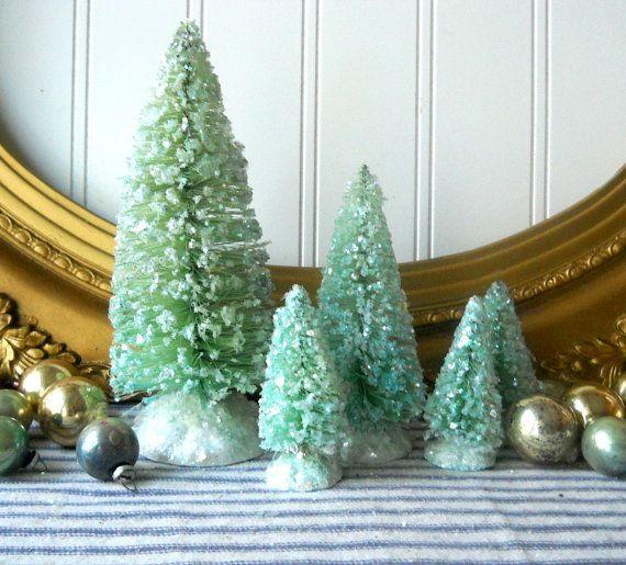 5 Bottle brush trees vintage style Christmas decorations Aqua green
