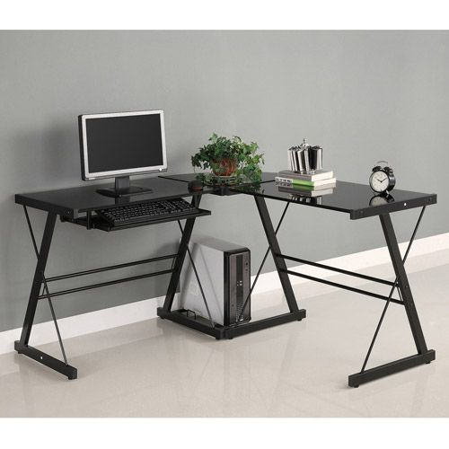 Walker Edison Glass And Metal L Shaped Computer Desk Black Clear Glass Walmart Com Glass Computer Desks Glass Corner Desk Corner Computer Desk