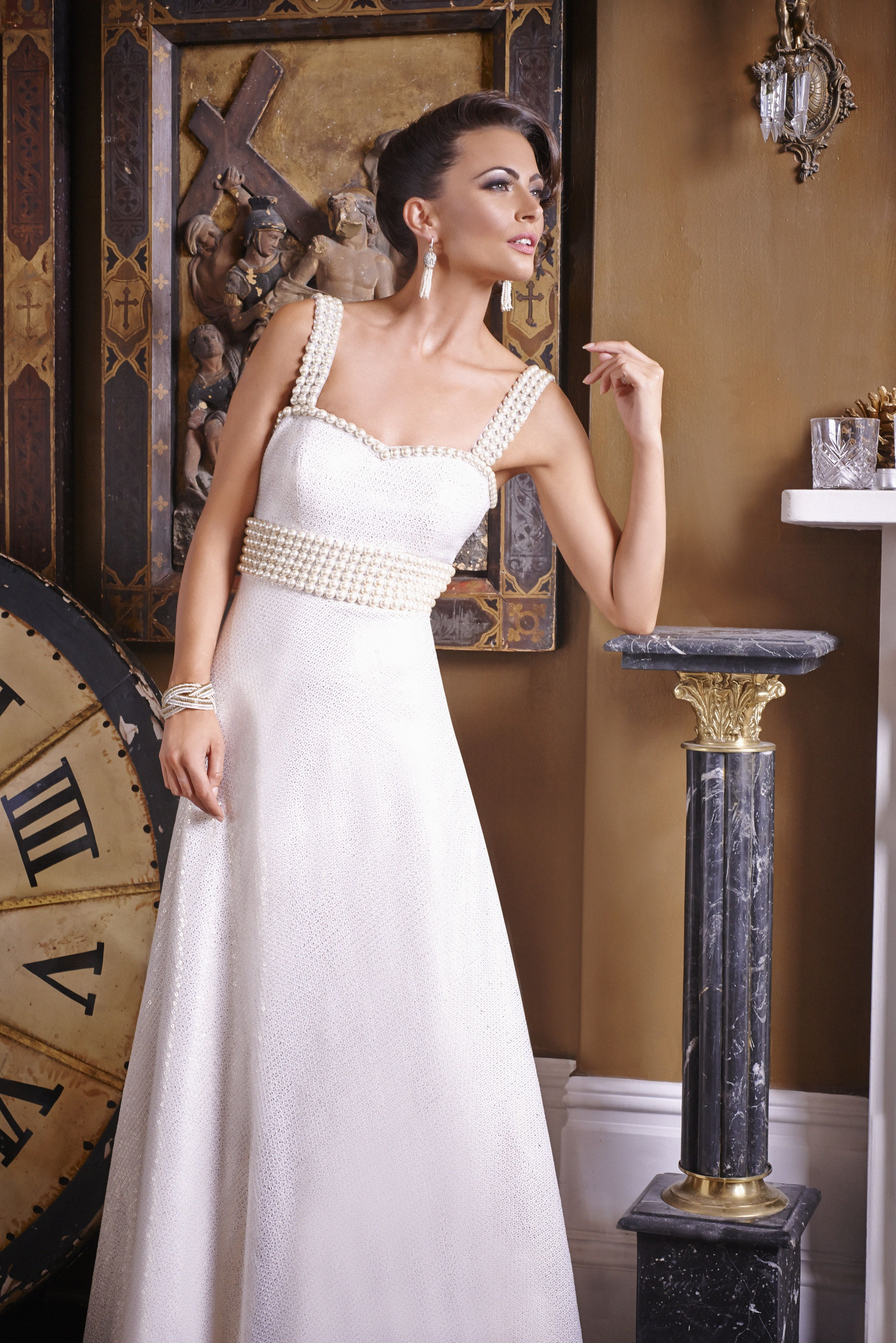 Ws10 White Registry Wedding Gown With Pearl Embroidery Low Back Studded Pearls