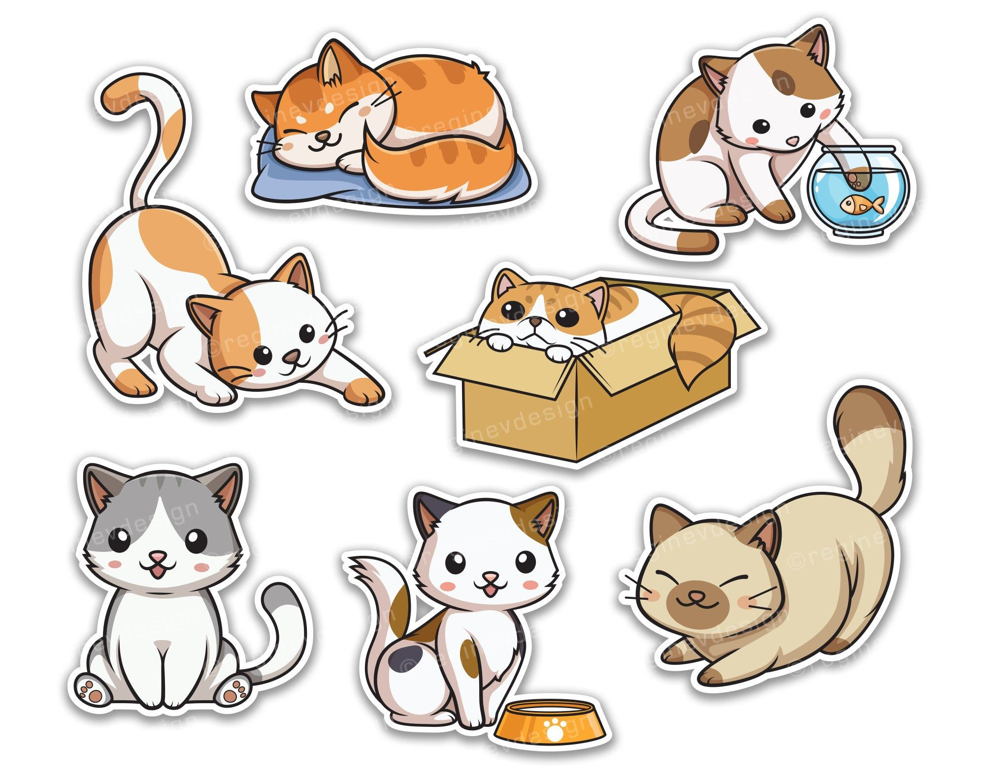 Cute Cat Clipart Kitten Sticker Pussycat Vector Kawaii Chibi