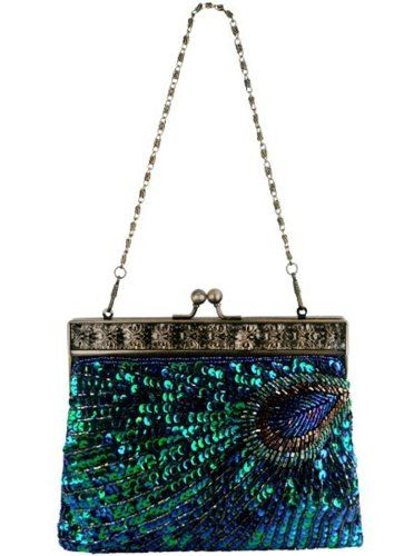 PEACOCK feathers Pattern beaded Sequin Evening BAG Green >>> You can find out more details at the link of the image.
