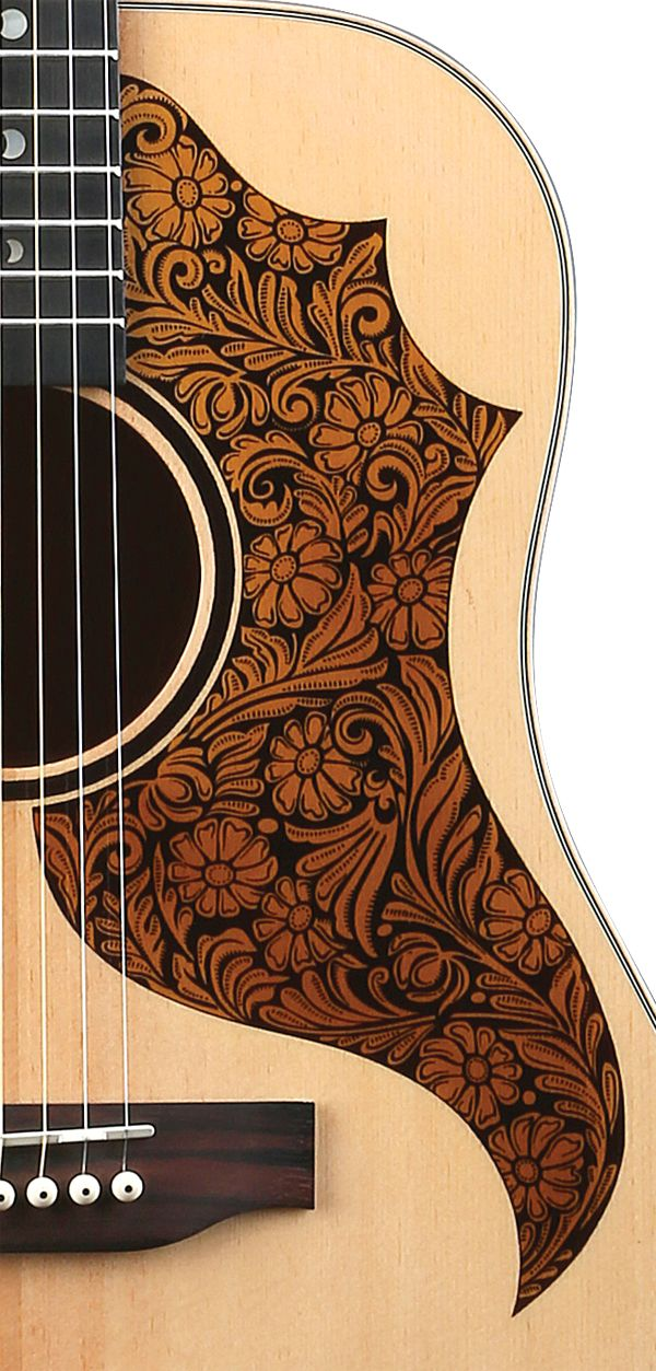 Amt100 Detail Of Etched Tooled Leather Look Pickguard Luna Guitars Guitar Design Acoustic Guitar