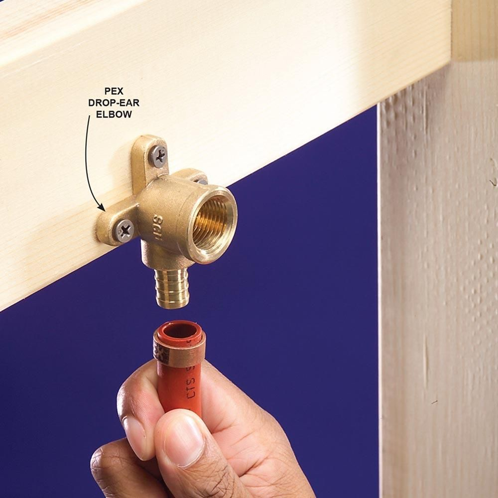 Plumbing with pex tubing drop and