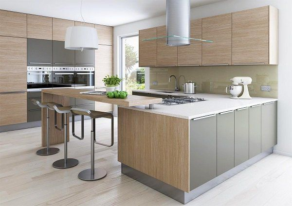 Best Modern Oak Kitchen Designs White Countertops Gray Accents 400 x 300