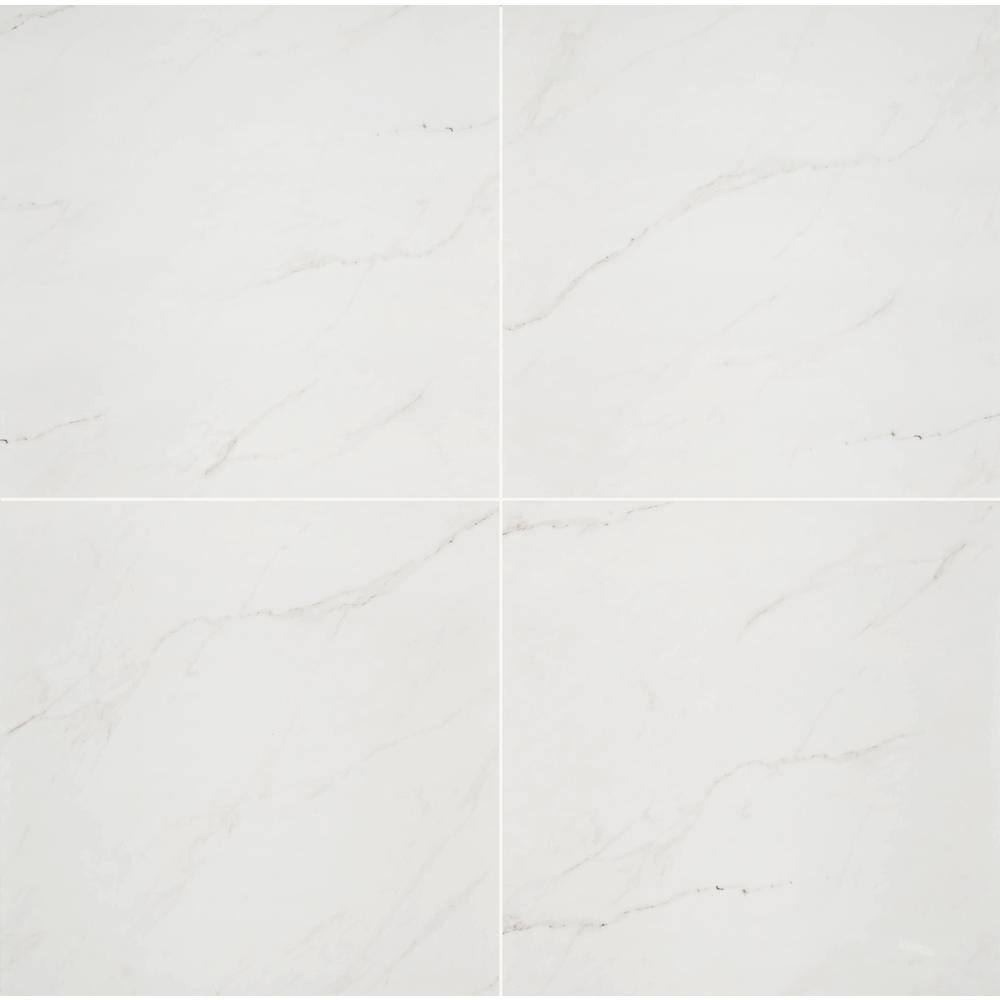 White Tile Bathroom For Luxury Master Bathroom Design: MSI Aria Ice 24 In. X 24 In. Polished Porcelain Floor And