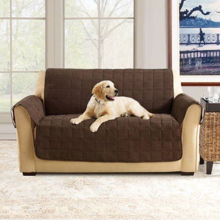 Sure Fit Ultimate Waterproof Quilted Pet Loveseat Cover Brown