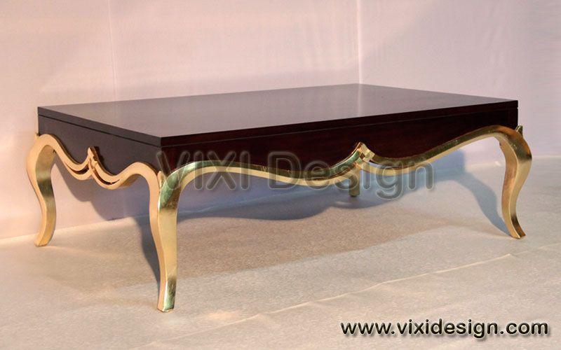 Exclusive Coffee Table Dark Brown Gold Leaf Luxury Furniture